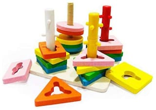 TEMSON Wooden Block Wise Disk Geometric Shape Matching 4 Sets of Column Learning Education Puzzle