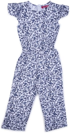 Terry Fator Cotton Floral Romper For Girl - Multi