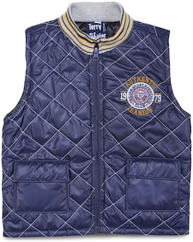 Terry Fator Boy Polyester Printed Winter jacket - Blue