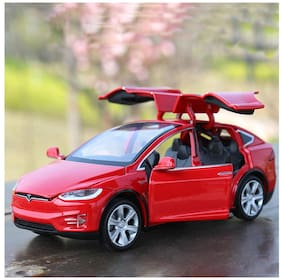 tesla car Die-Cast 4 Wheel Drive Metal Car Pull Back with 6 Openable Doors;Engine Cover;Tail with Front and Rear Light & Music;Gift for Boys and Girls Above 4 Years Best Gift