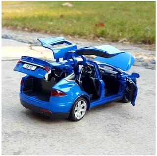 tesla car Die-Cast 4 Wheel Drive Metal Car Pull Back with 6 Openable Doors;Engine Cover;Tail with Front and Rear Light & Music;Gift for Boys and Girls Above 4 Years Best Gift b