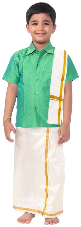 THANGAMAGAN Boy Art silk Solid Dhoti - Green