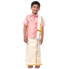 THANGAMAGAN Boy Art Silk Solid Dhoti - Pink