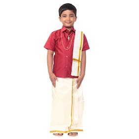 THANGAMAGAN Boy Art silk Solid Dhoti - Maroon