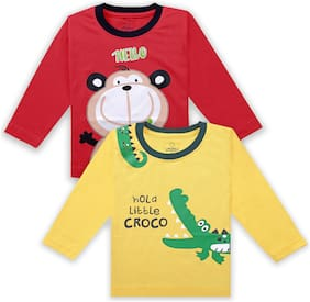 The Boo Boo Club Cotton Printed T shirt for Unisex Infants - Yellow & Red
