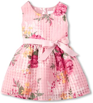 THE CHILDREN'S PLACE Pink Polyester Sleeveless Knee Length Princess Frock ( Pack of 1 )