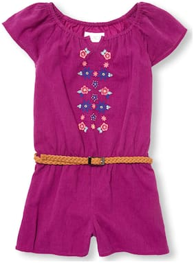 THE CHILDREN'S PLACE Cotton Self design Romper For Girl - Purple
