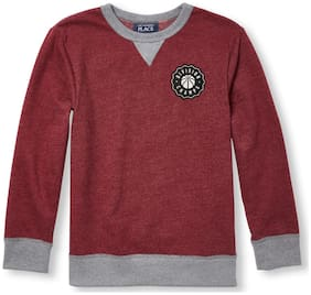 THE CHILDREN'S PLACE Boy Cotton Solid Sweatshirt - Red