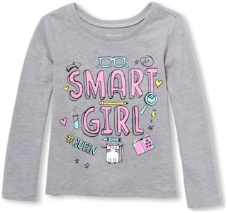 THE CHILDREN'S PLACE Girl Cotton Printed T shirt - Grey