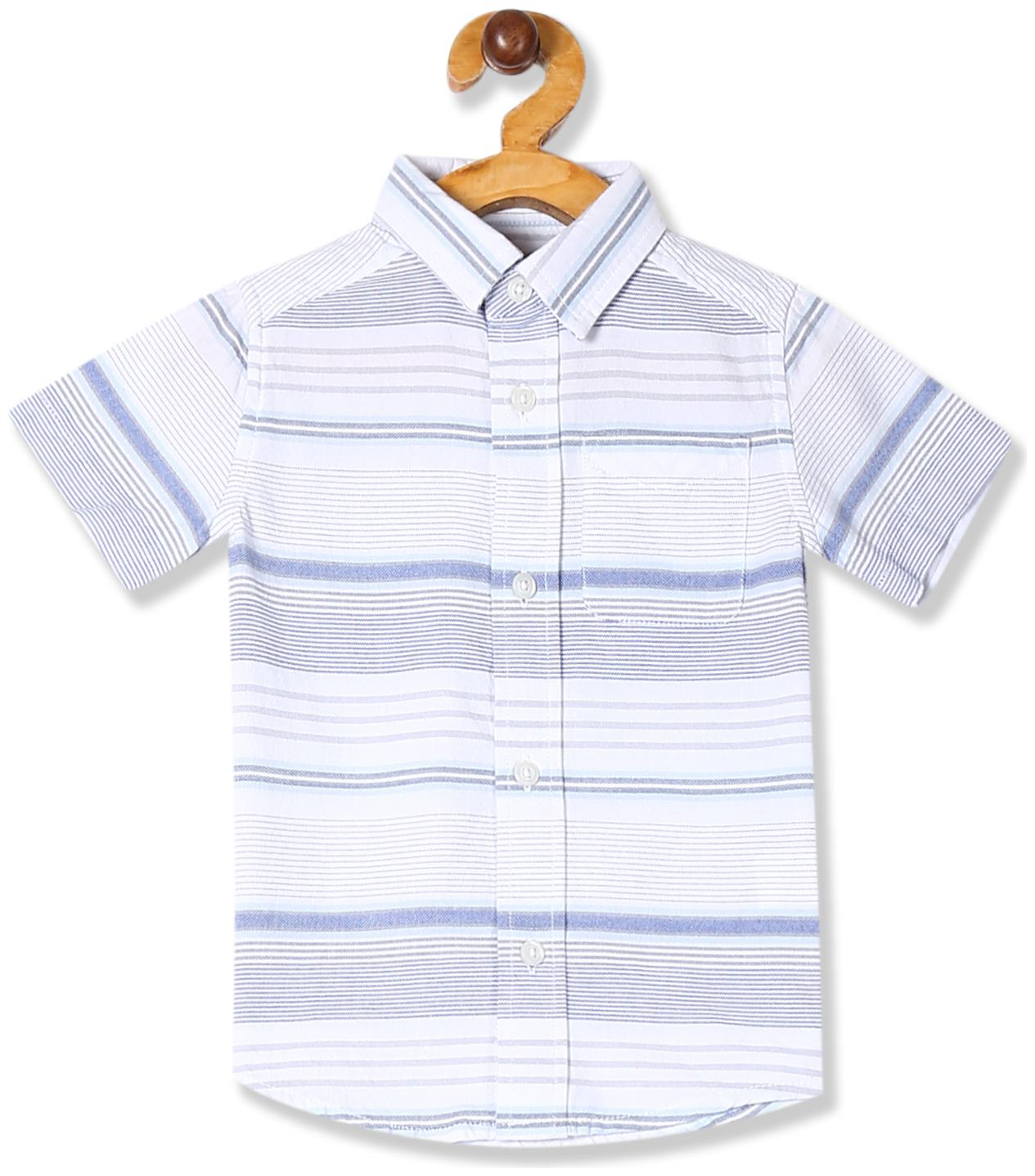 THE CHILDREN'S PLACE Cotton Striped Shirt for Baby Boy   Blue