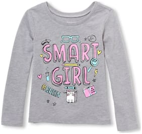 THE CHILDREN'S PLACE Cotton Printed T shirt for Baby Girl - Grey