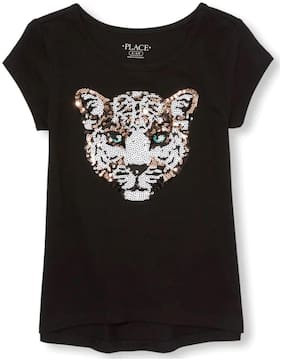 THE CHILDREN'S PLACE Girl Cotton Embellished Top - Black
