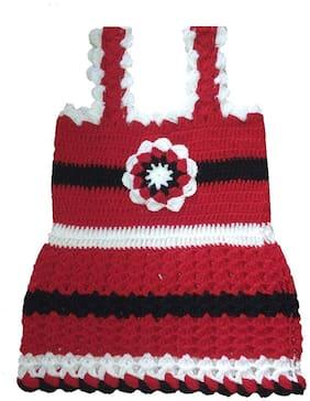 The Creators  Woolen Handmade Baby Girl Frock ( Red, 09-12 Months )