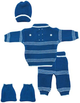 The Creators  Unisex Sweater Set (Blue, 0-3 Months)