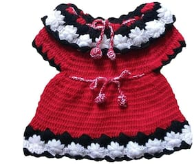 The Creators Woolen Handmade Baby Girl Frock ( Red, 6-9 Months )