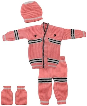 THE CREATORS Unisex Wool Solid Sweater - Pink