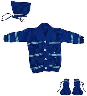 THE CREATORS Unisex Wool Solid Sweater - Blue