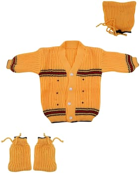THE CREATORS Unisex Wool Solid Sweater - Yellow