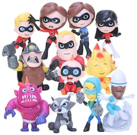 The Incredibles Set Of 12 pcs. Violet Parr, Dash, Jack-Jack Parr, Elastigirl, Frozone, Mr. Incredibles, Syndrone, The Underminer And Other Characters Action Figure