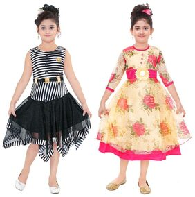 The Panda Ant Girl Polyester Solid Frock - Black & Yellow