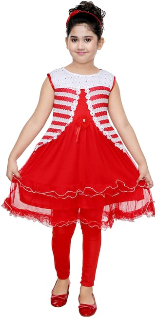 The Panda Ant Trendy Sleeveless Frock With Leggings-Red