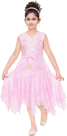 The Panda Ant Pink Art Silk Sleeveless Knee Length Princess Frock ( Pack of 1 )