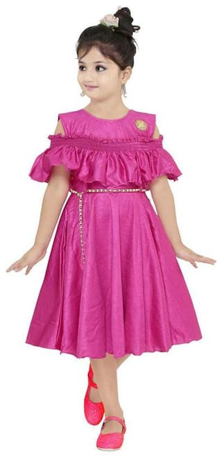 The Panda Ant Pink Cotton Blend Short Sleeves Knee Length Princess Frock ( Pack of 1 )
