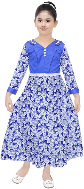 The Panda Ant Cotton blend Embroidered Frock - Blue