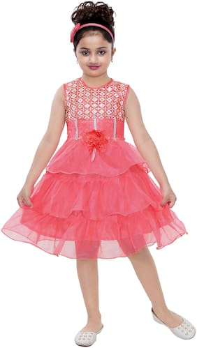 The Panda Ant Net Striped Frock - Pink
