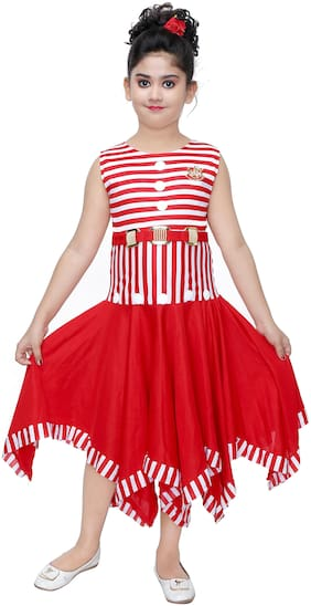 The Panda Ant Red Net Sleeveless Knee Length Princess Frock ( Pack of 1 )
