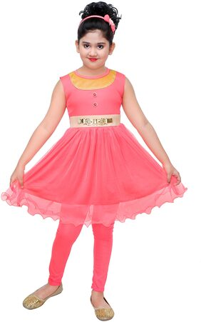 The Panda Ant Girl Cotton Blend Striped Frock - Pink