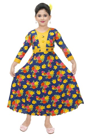 The Panda Ant Yellow Cotton Blend 3/4th Sleeves Maxi Princess Frock ( Pack of 1 )