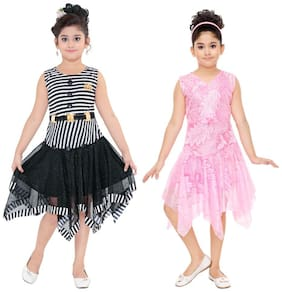 The Panda Ant Girls Fancy Party Dress-Pack Of 2