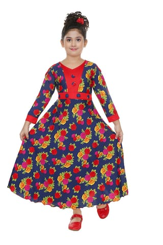 The Panda Ant Red Cotton Blend 3/4th Sleeves Maxi Princess Frock ( Pack of 1 )