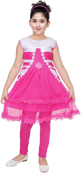 The Panda Ant Trendy Sleeveless Frock With Leggings-Pink