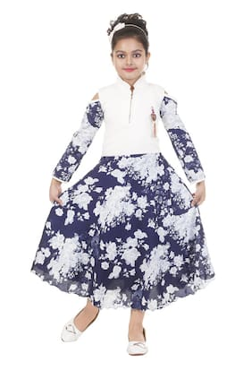 The Panda Ant Blue & White Cotton Blend Full Sleeves Maxi Princess Frock ( Pack of 1 )