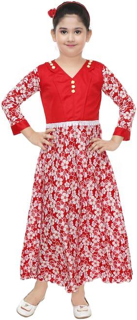 The Panda Ant Maxi/Full Length Party Dress (Red;Full Sleeve)