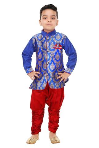 The Panda Ant Boy Art silk Printed Kurta pyjama set - Blue