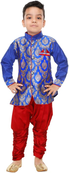 The Panda Ant Boy Art silk Printed Kurta pyjama set - Blue