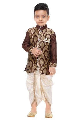 The Panda Ant Boy Art silk Printed Dhoti kurta - Multi