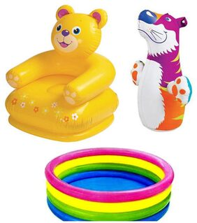 Three 6 Combo Of Teddy Chair And Baby Swimming Pool With Hit Me Bop Bag