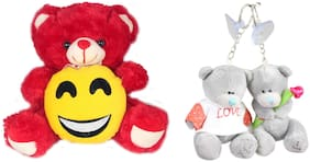 Tickles Adorable Teddy With Smile face and Love Couple Teddy Keychain Soft Toy Gift Set