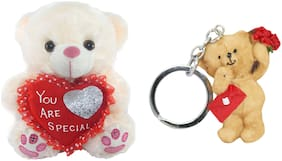 Tickles Adorable Sitting Teddy with Heart Love Message Keychain Soft Toy Gift Set