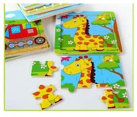 Tickles Animal cartoon 9 pieces of a pattern wood puzzles wooden jigsaw Board (Set Of 4 Puzzles)