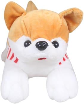 Tickles Beige Cute Soft Dressed Laying Husky Dog 32 cm