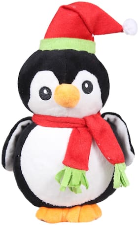 Tickles Black Cute Small Christmas Penguin Soft Toy Soft Stuffed for Kids 18 cm