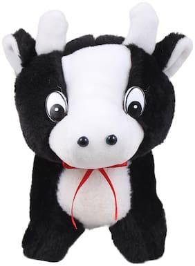 Tickles Black Plush Bull Pen Pencil Pouch For Kids School with Zipper 23 cm
