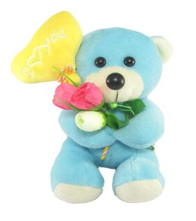 Tickles Blue Adorable Teddy With Heart Balloon Stuffed Soft Plush Toy 18 Cm