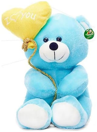 Tickles Blue I Love You Balloon Heart Teddy Stuffed Soft Toy - 18 Cm