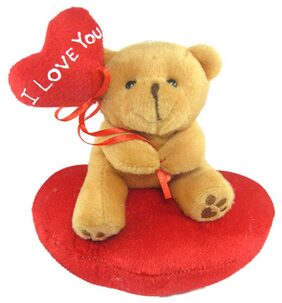 Tickles Brown Cute Teddy With I Love You Heart Balloon Stuffed Soft Plush Toy 14 Cm